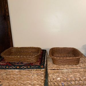 Two vintage wicker baskets